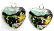 2pc 18mm Glass Heart Charm Set Teal Bird