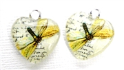 2pc 18mm Glass Heart Charm Set Yellow Butterflies