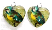 2pc 18mm Glass Heart Charm Set Green Bird