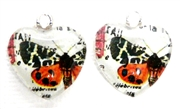 2pc 18mm Glass Heart Charm Set Orange Butterflies