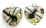 2pc 18mm Glass Heart Charm Set Dragonfly Writing