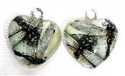 2pc 18mm Glass Heart Charm Set Multi Dragonfly