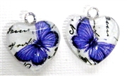 2pc 18mm Glass Heart Charm Set Purple Butterflies