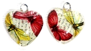 2pc 18mm Glass Heart Charm Set Red Yellow Butterflies