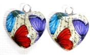2pc 18mm Glass Heart Charm Set Trio Butterflies