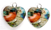 2pc 18mm Glass Heart Charm Set Pink Birds