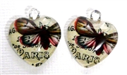 2pc 18mm Glass Heart Charm Set Beige Paris Butterflies