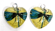 2pc 18mm Glass Heart Charm Set Blue Dragonflies