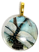 1pc 25mm Vintage Glass Round Pendant Paris Dragonfly Silver Bail
