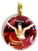 1pc 25mm Vintage Glass Round Pendant Red Lady Gold Bail