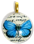 1pc 25mm Vintage Glass Round Pendant Blue Butterfly Gold Bail
