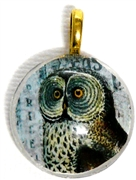 1pc 25mm Vintage Glass Round Pendant Owl Gold Bail