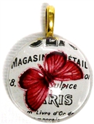 1pc 25mm Vintage Glass Round Pendant Paris Butterfly Gold Bail
