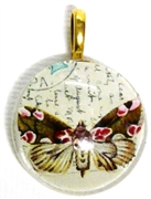 1pc 25mm Vintage Glass Round Pendant Writing Butterfly Gold Bail