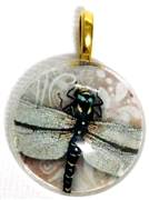 1pc 25mm Vintage Glass Round Pendant Pink Dragonfly Gold Bail