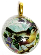 1pc 25mm Vintage Glass Round Pendant Teal Bird Gold Bail