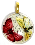 1pc 25mm Vintage Glass Round Pendant Red Yellow Butterflies Gold Bail