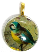 1pc 25mm Vintage Glass Round Pendant Green Bird Gold Bail
