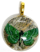 1pc 25mm Vintage Glass Round Pendant Green Butterfly Gold Bail