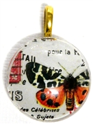 1pc 25mm Vintage Glass Round Pendant Orange Butterfly Gold Bail
