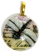 1pc 25mm Vintage Glass Round Pendant Dragonfly Writing Gold Bail