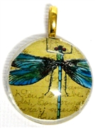 1pc 25mm Vintage Glass Round Pendant Blue Dragonfly Gold Bail