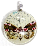 1pc 25mm Vintage Glass Round Pendant Writing Butterfly Silver Bail