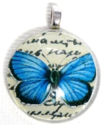 1pc 25mm Vintage Glass Round Pendant Blue Butterfly Silver Bail