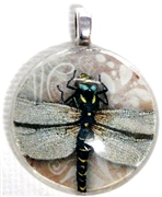1pc 25mm Vintage Glass Round Pendant Pink Dragonfly Silver Bail