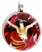 1pc 25mm Vintage Glass Round Pendant Red Lady Silver Bail