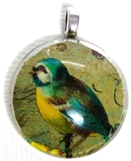 1pc 25mm Vintage Glass Round Pendant Green bird Silver Bail