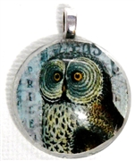 1pc 25mm Vintage Glass Round Pendant Owl Silver Bail