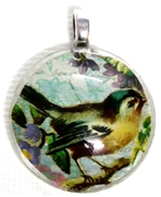 1pc 25mm Vintage Glass Round Pendant Teal Bird Silver Bail