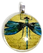1pc 25mm Vintage Glass Round Pendant Blue Dragonfly Silver Bail