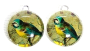 2pc 18mm Glass Round Charm Set Green Birds