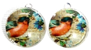 2pc 18mm Glass Round Charm Set pink bird