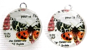 2pc 18mm Glass Round Charm Set Orange Butterflies
