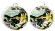 2pc 18mm Glass Round Charm Set Teal Bird