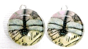 2pc 18mm Glass Round Charm Set Dragonfly Writing