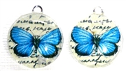 2pc 18mm Glass Round Charm Set Blue Butterflies