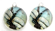 2pc 18mm Glass Round Charm Set Dragonfly Paris