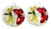 2pc 18mm Glass Round Charm Set Red Yellow Butterflies