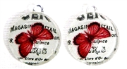 2pc 18mm Glass Round Charm Set Paris Butterflies