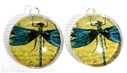 2pc 18mm Glass Round Charm Set Blue Dragonflies