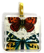 1pc 25mm Vintage Glass Pendant Square Butterfly Duo Gold Bail