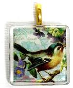 1pc 25mm Vintage Glass Pendant Square Teal Bird Gold Bail