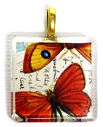 1pc 25mm Vintage Glass Pendant Square Red Butterflies Gold Bail
