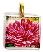 1pc 25mm Vintage Glass Pendant Square Fuchsia Flower Gold Bail