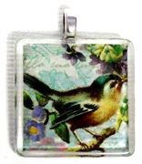1pc 25mm Vintage Glass Pendant Teal Bird Silver Bail