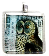 1pc 25mm Vintage Glass Pendant Owl Silver Bail
